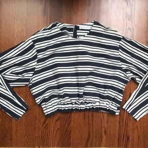 Navy and White striped Zara top